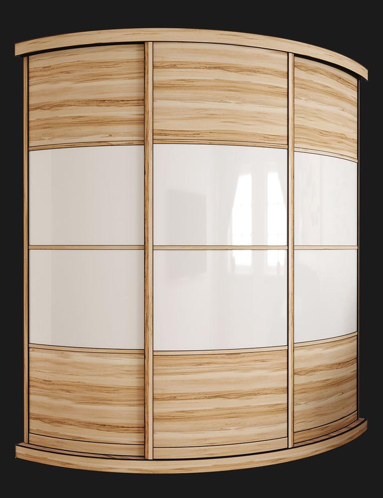 Выгнутый радиусный шкаф M-2 Сандал Белый глянец
