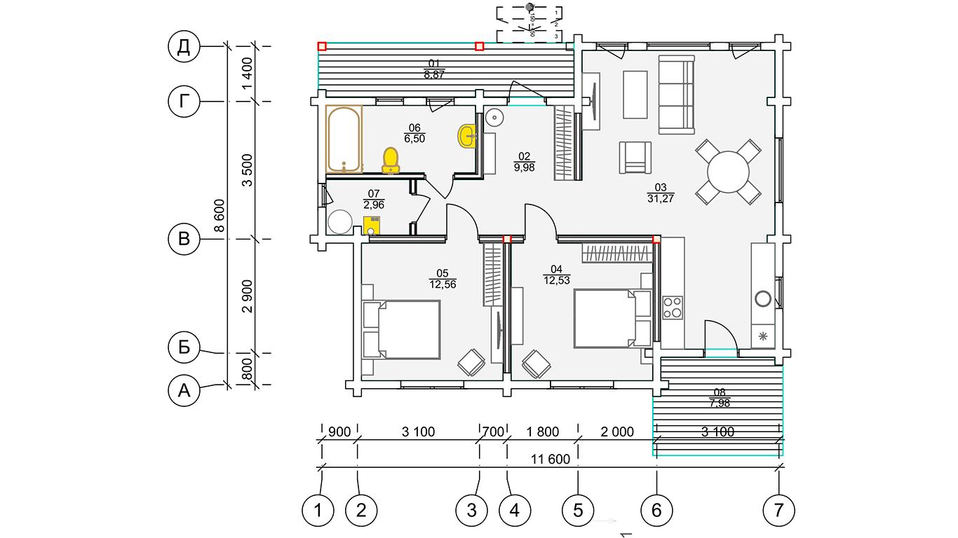 План первого этажа Plessa 1.0 (Дом Плесса 1.0)