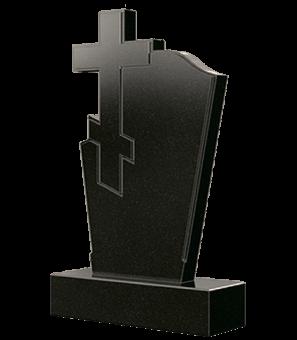 Гранитный памятник с крестом слева и узкими фасками