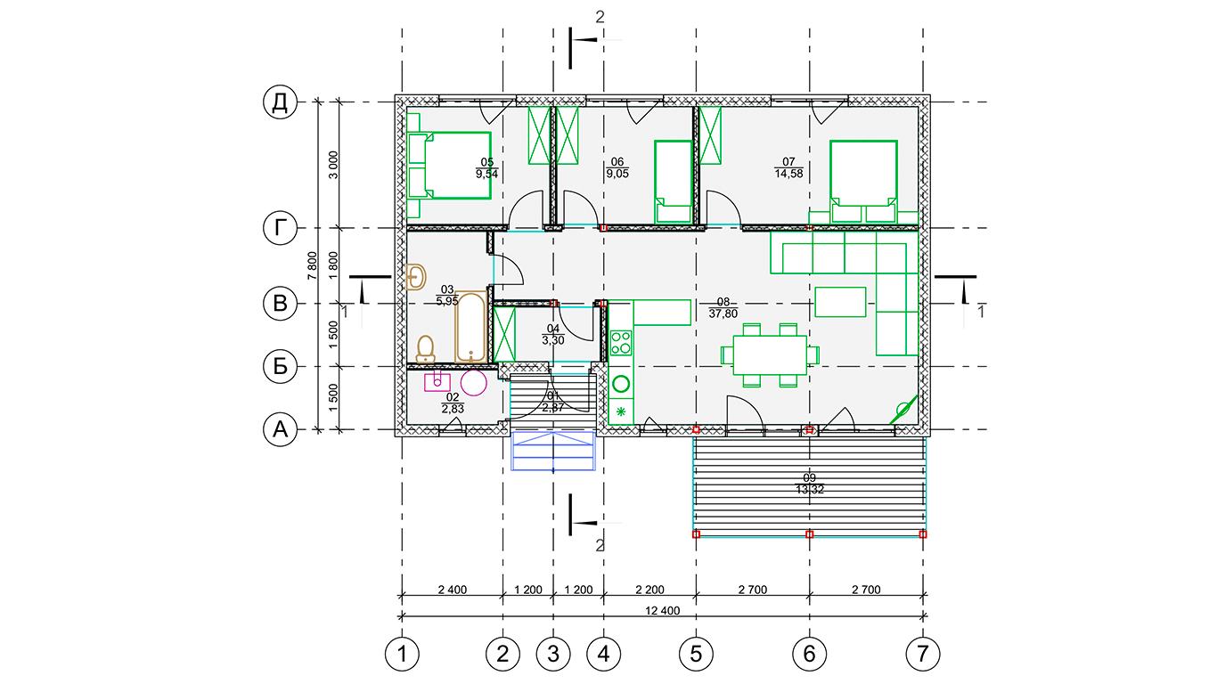 План первого этажа Dortmund Rahmenhaus 1.2 (Каркасный дом Дортмунд 1.2)