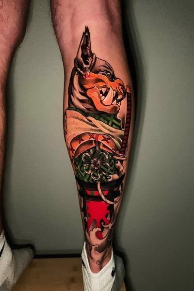 Татуировка кот самурай япония в Новосибирске