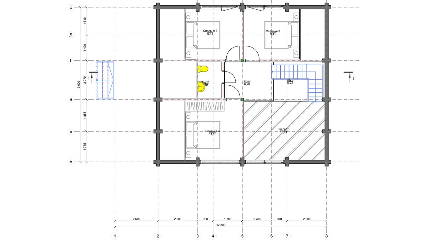 План второго этажа Frunkfurt Che (Дом Франкфурт Че)