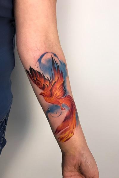 татуировка феникса цветная