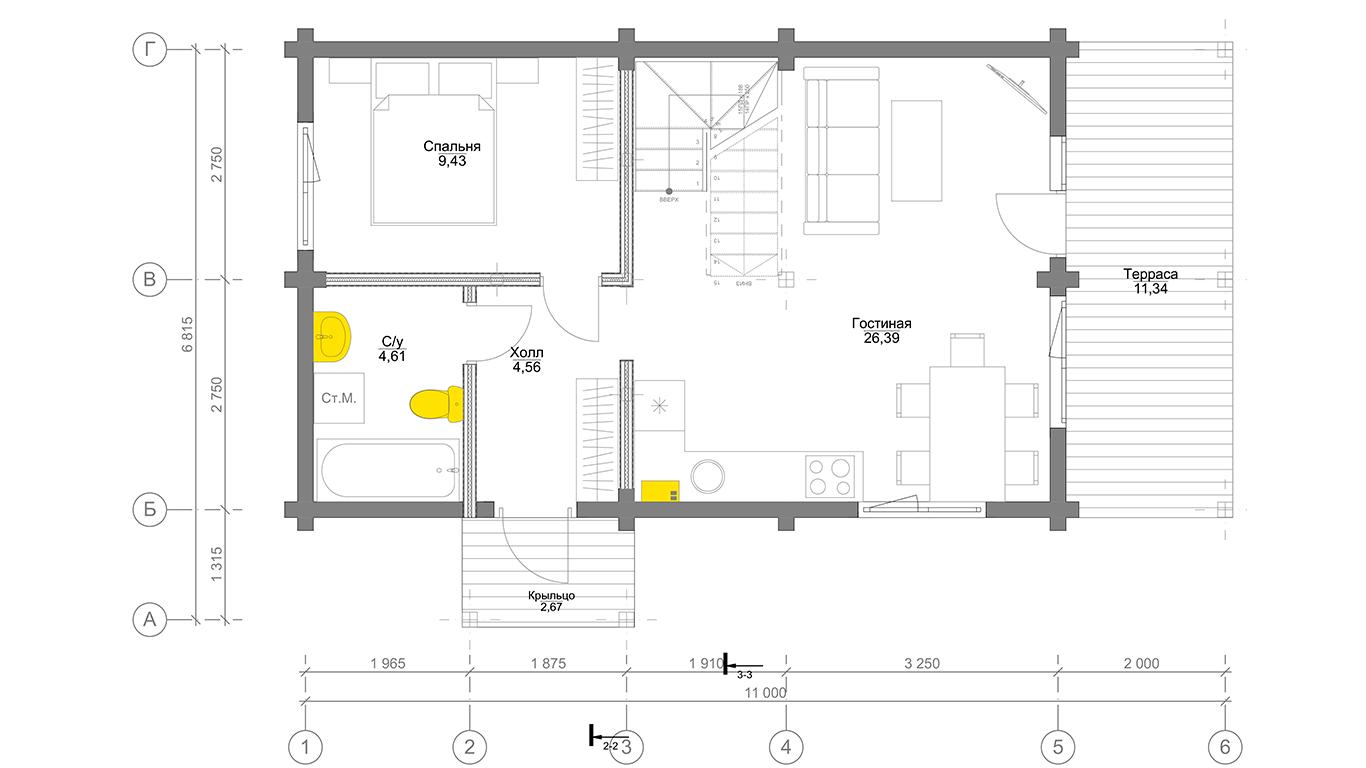 План первого этажа Ingolstadt Rahmenhaus (Каркасный дом Ингольштадт)