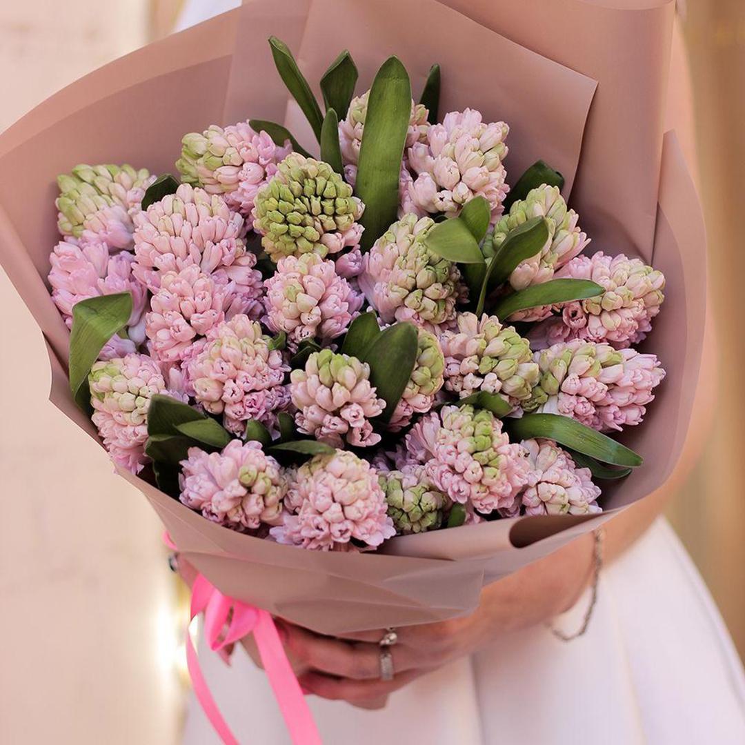25 розовых гиацинтов в руках