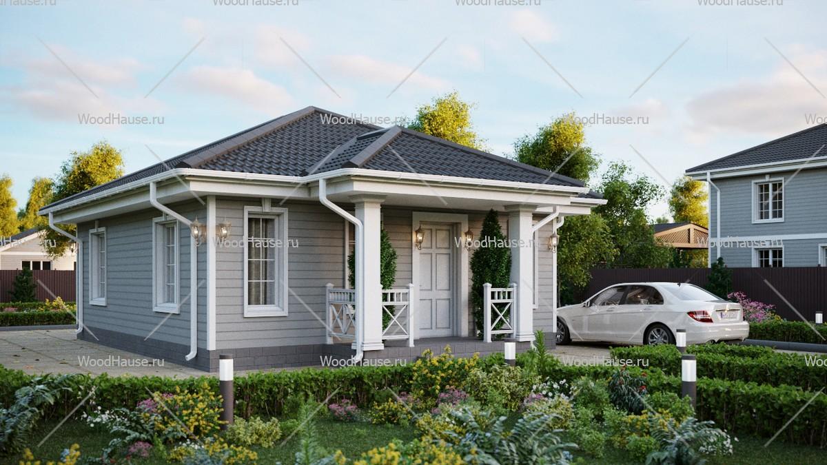 Двухэтажный жилой дом с мансардой и террасой