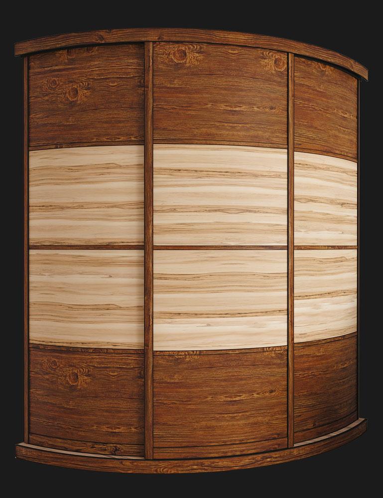 Выгнутый радиусный шкаф M-2 Античная сосна