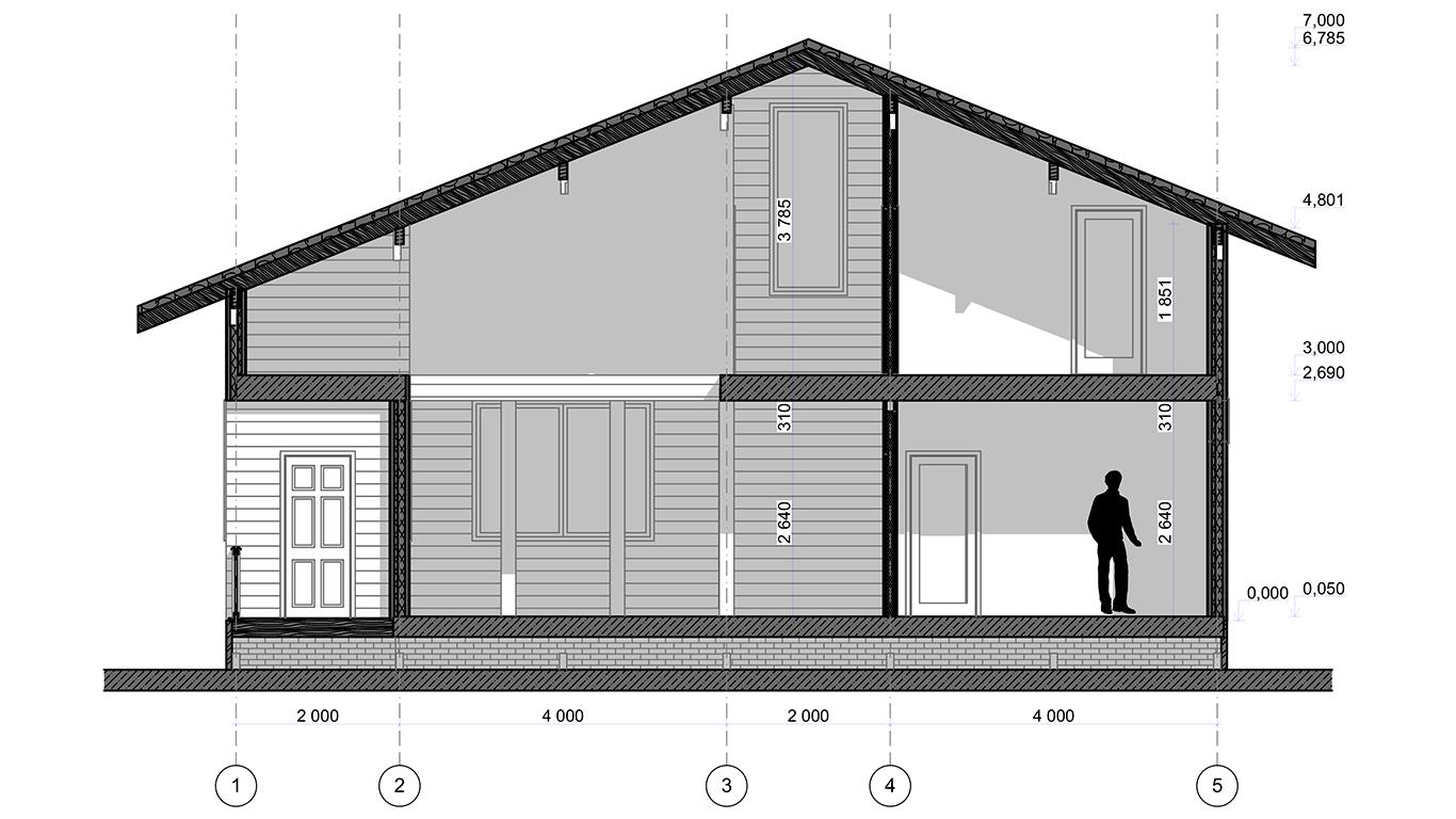 Разрез Lebus Rahmenhaus (Каркасный дом Лебус)