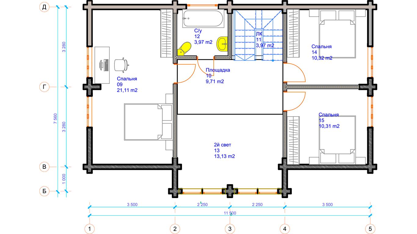 План второго этажа Leipzig 1.0 (Дом Лейпциг)