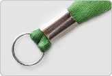 Ленточка для бейджа зеленого цвета с кольцом, сборка скоба