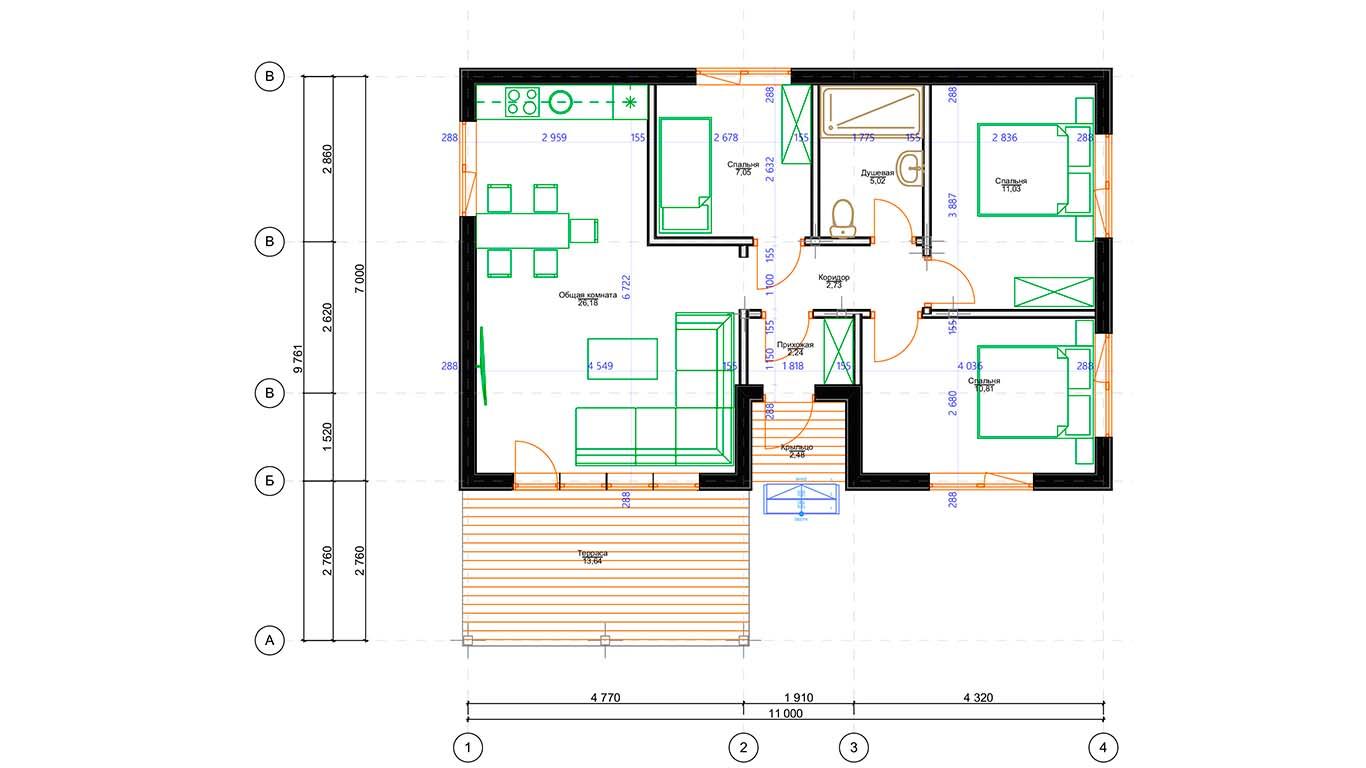 План первого этажа Lebus Rahmenhaus (Каркасный дом Лебус)