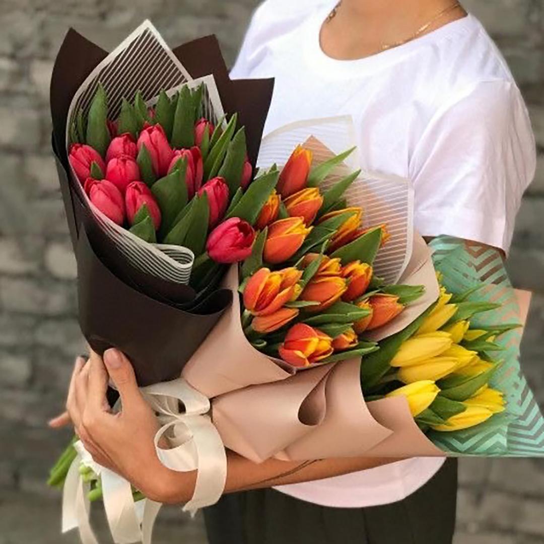 15 тюльпанов в руках