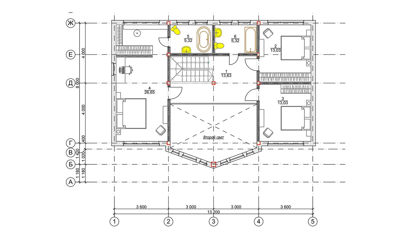 План второго этажа Düsseldorf Rahmenhaus (Каркасный Дюссельдорф)
