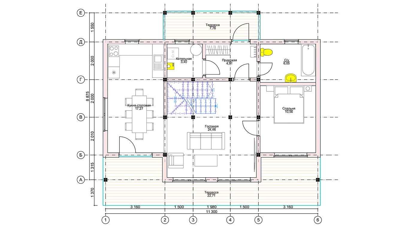 План первого этажа Düsseldorf Rahmenhaus (Каркасный Дюссельдорф)