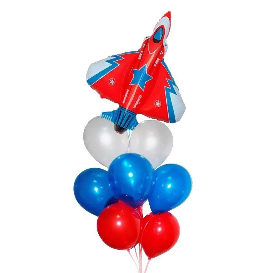 Фонтан из шаров с самолетом триколор