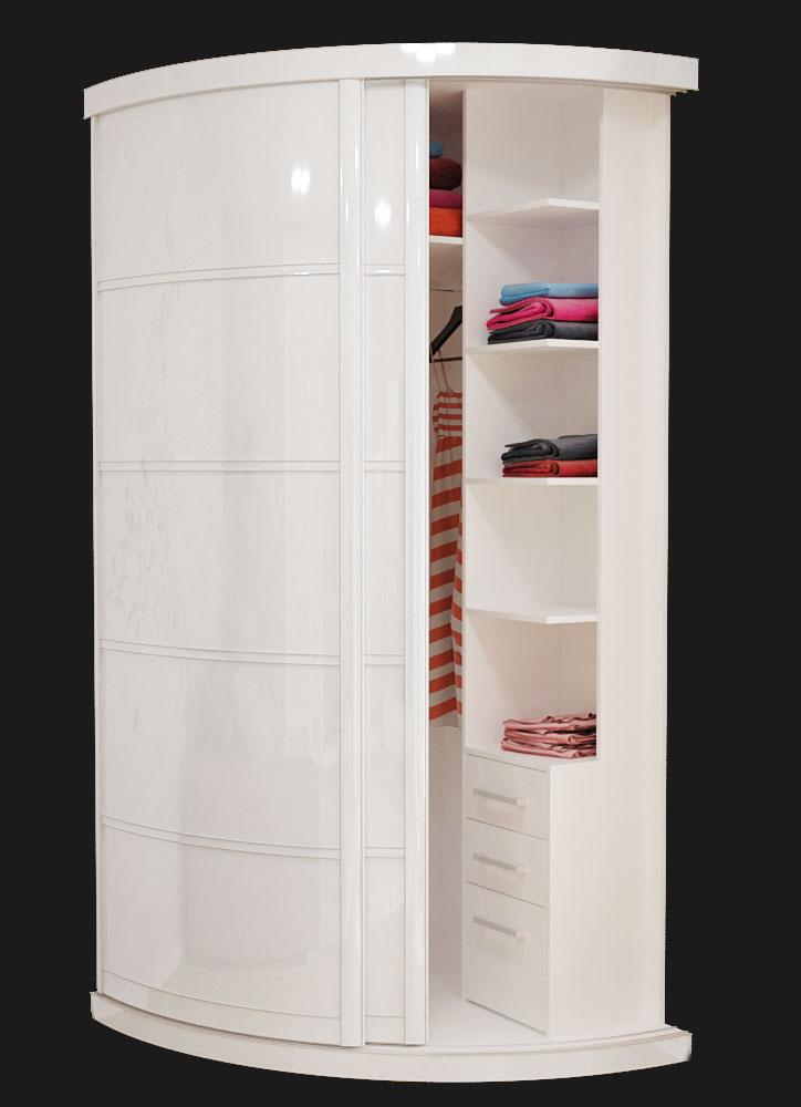Выгнутый радиусный шкаф M-1 Белый Глянец