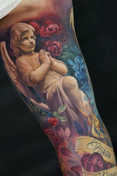татуировка фотография эскиз мужская на плече викинг