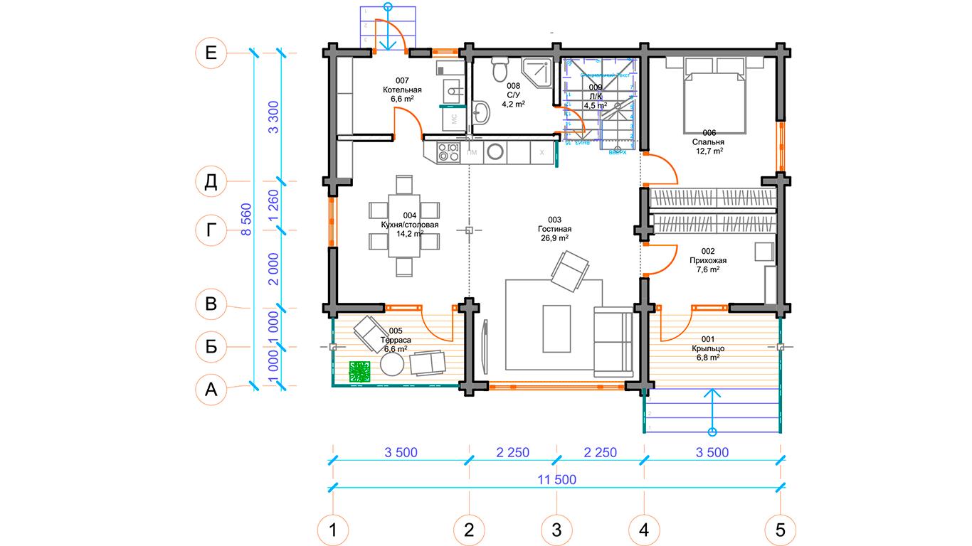 План первого этажа Hannover 1.0 (Дом Ганновер)