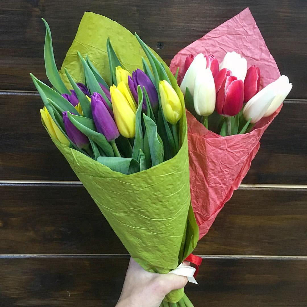 9 тюльпанов в руках