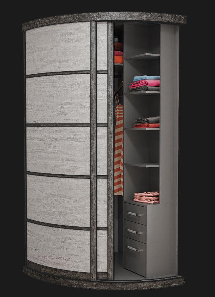 Выгнутый радиусный шкаф M-1 Камень Белый и Серый