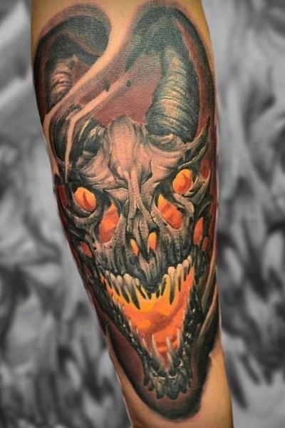 Тату новосибирск, татуировка демона цветная
