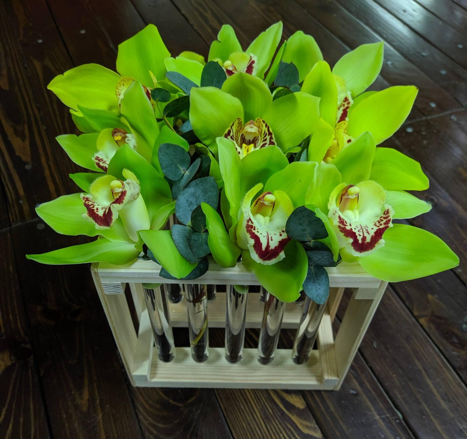 Орхидеи Цимбидиум в деревянном боксе