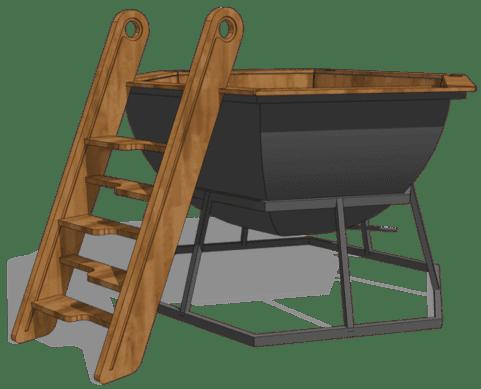 Лестница для банного чана на 4х