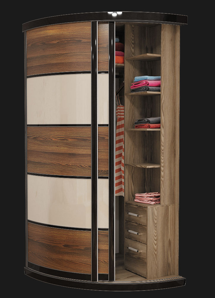 Выгнутый радиусный шкаф M-1 Крем глянец и Красное дерево