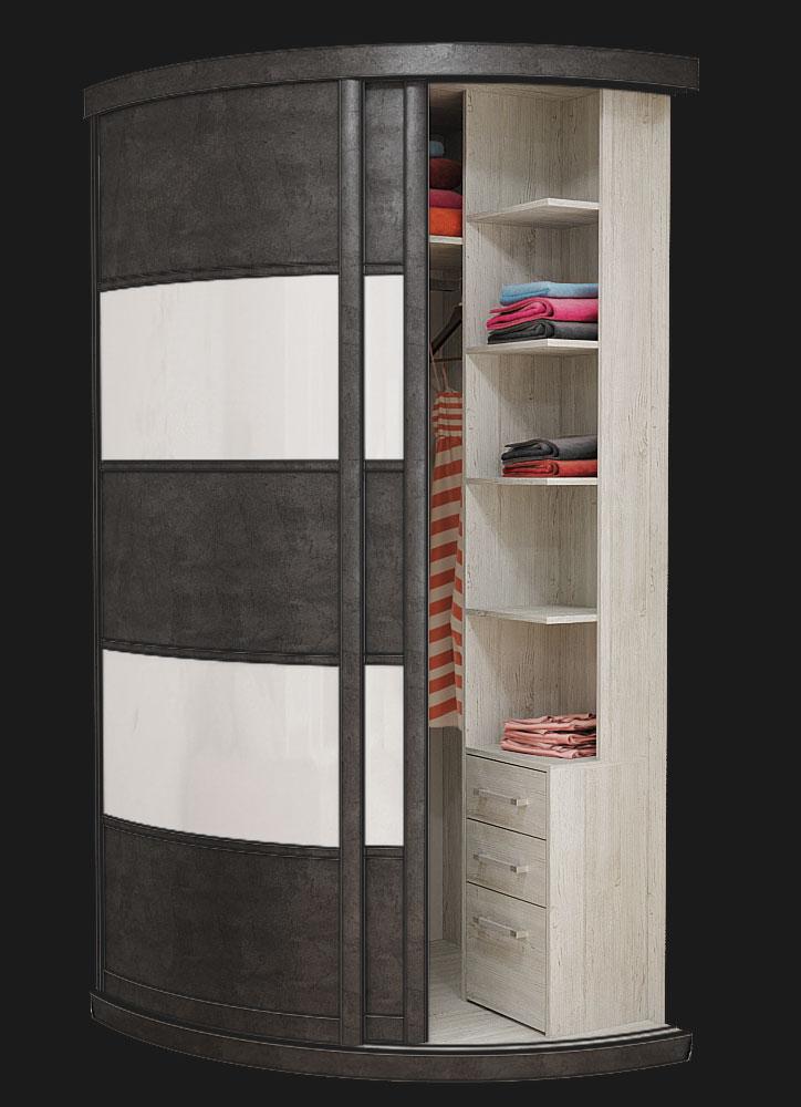 Выгнутый радиусный шкаф M-1 Бетон Серый и Белый глянец