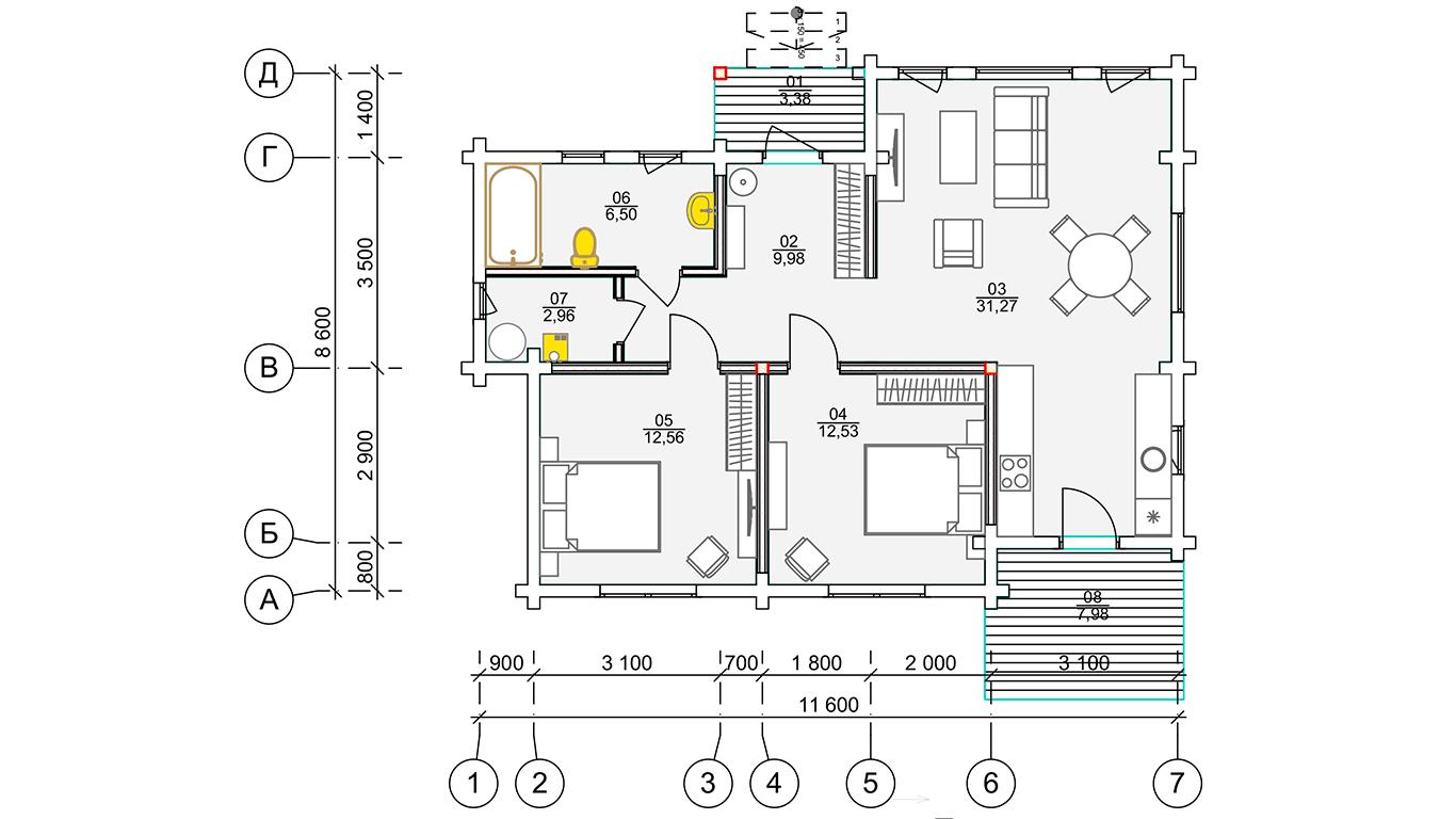 План первого этажа Plessa 2.0 (Дом Плесса 2.0)