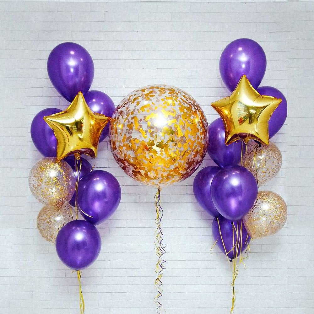 Фиолетово-золотой набор шаров маме