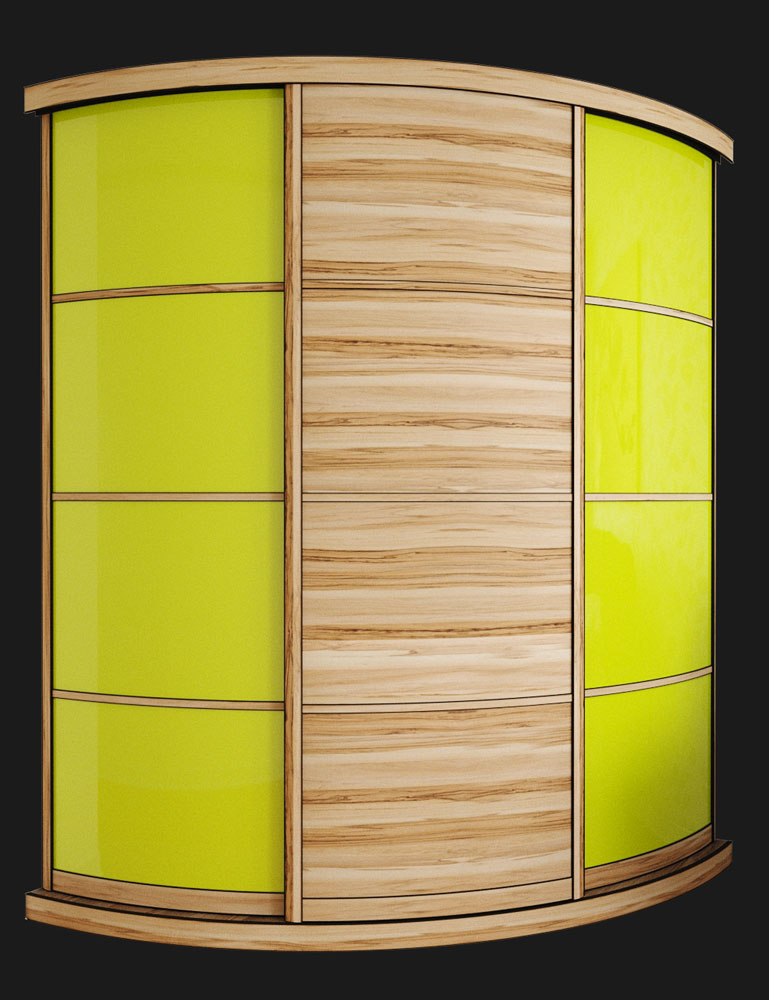Выгнутый радиусный шкаф M-2 Сандал + Лайм