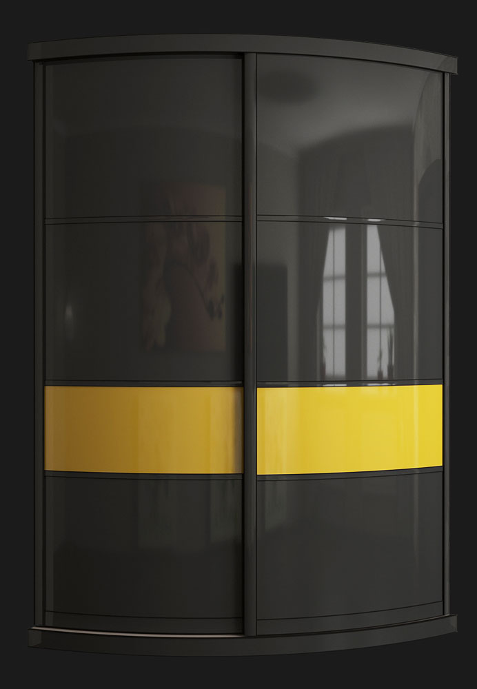 Выгнутый радиусный шкаф M-4 Графит и Груша