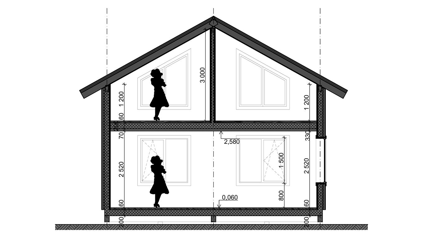 Разрез Koln 1.0 Rahmenhaus (Каркасный дом Кельн 1.0)