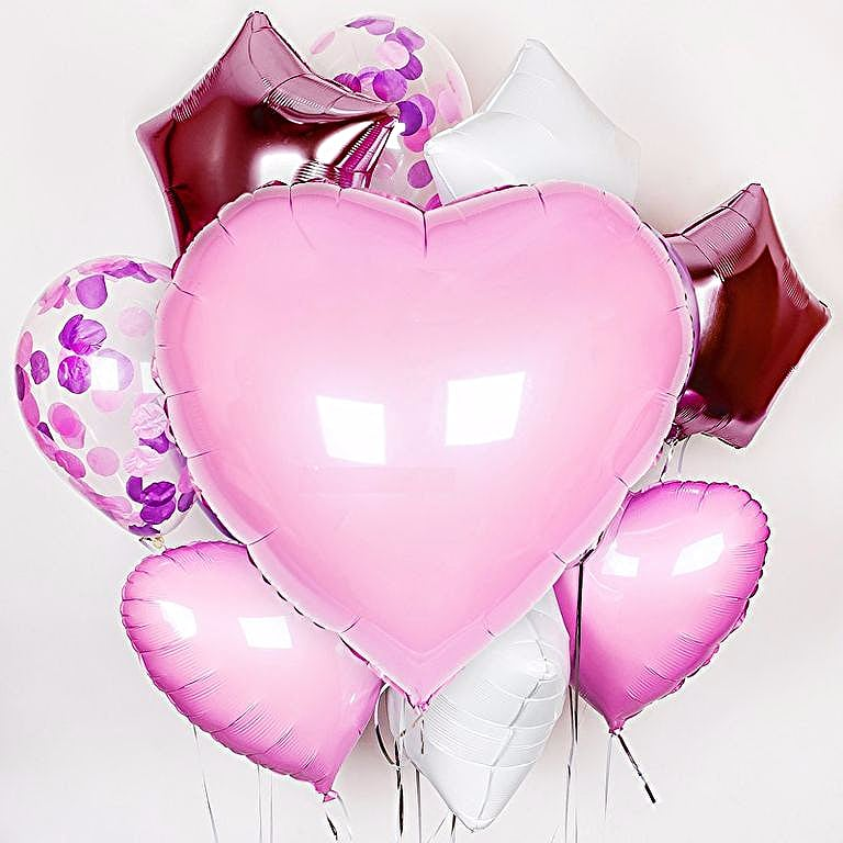 Большое сердце из фольги + 2 шара с конфети + 3 сердце