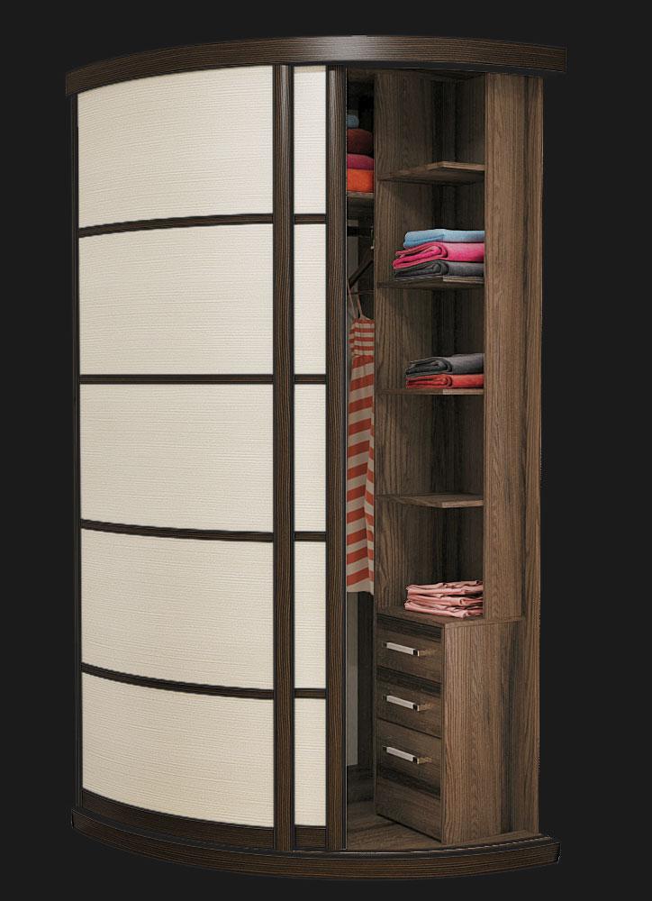 Выгнутый радиусный шкаф M-1 Лиственица Светлая и Темная