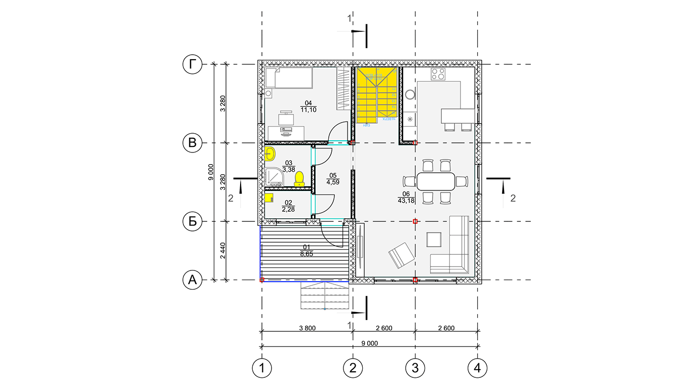План первого этажа Wolfsburg Rahmenhaus  (Каркасный дом Вольфсбург)