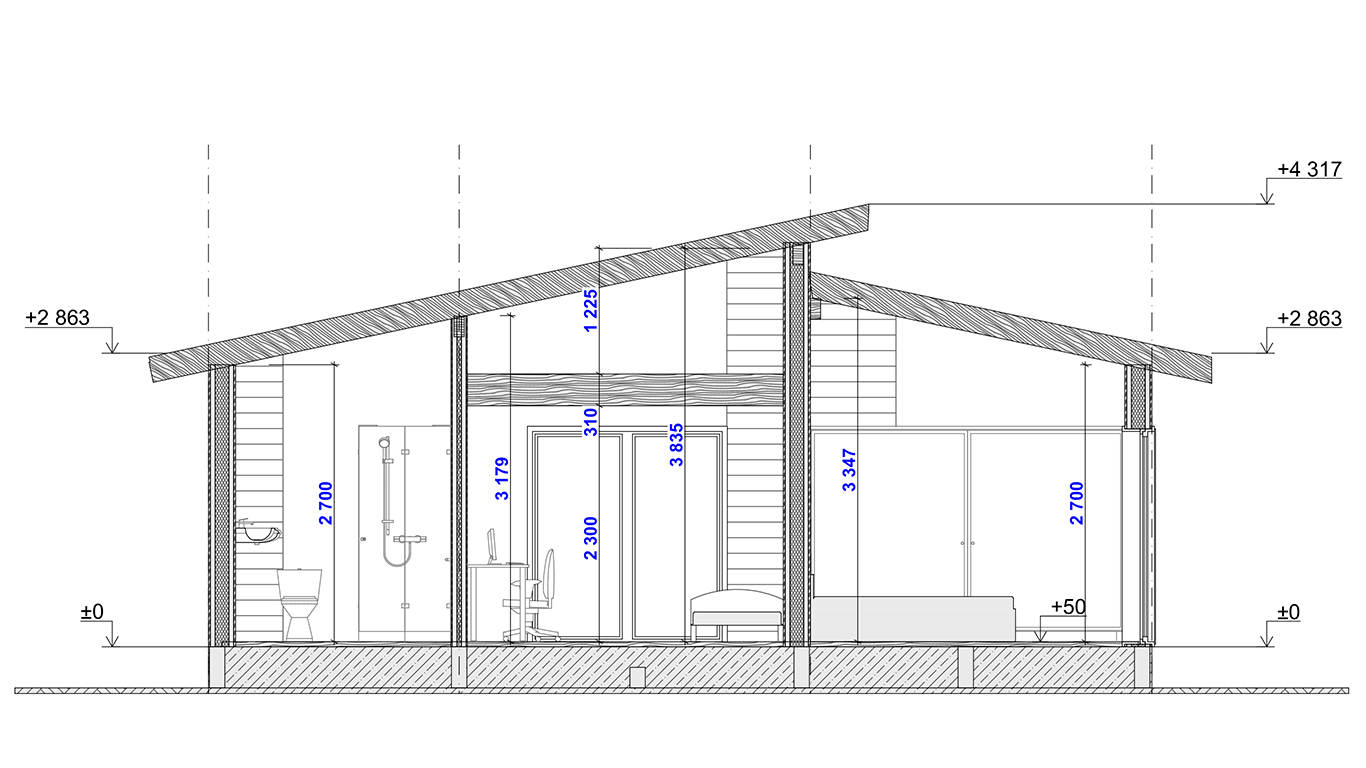 Разрез Hagen Rahmenhaus (Каркасный дом Хаген)