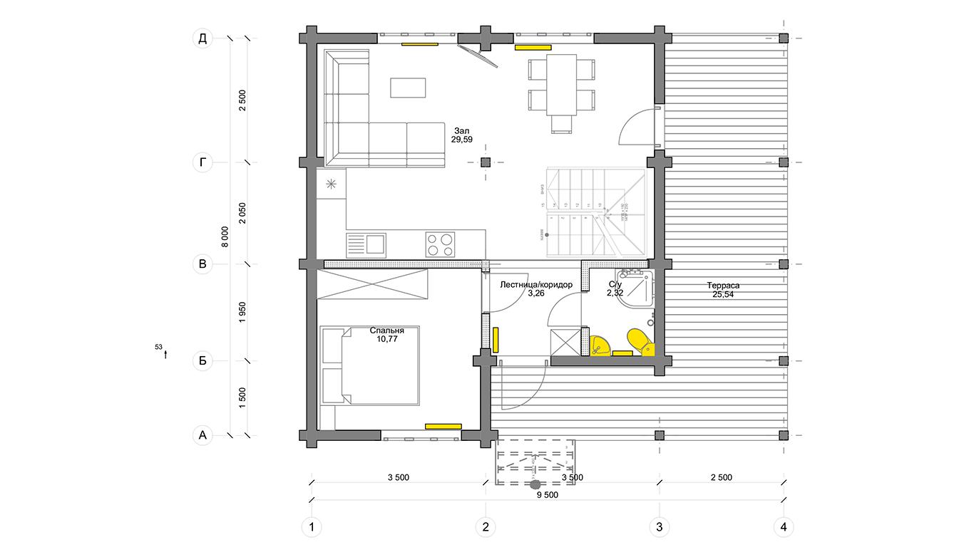 План первого этажа Köln 1.1 (Дом Кельн)