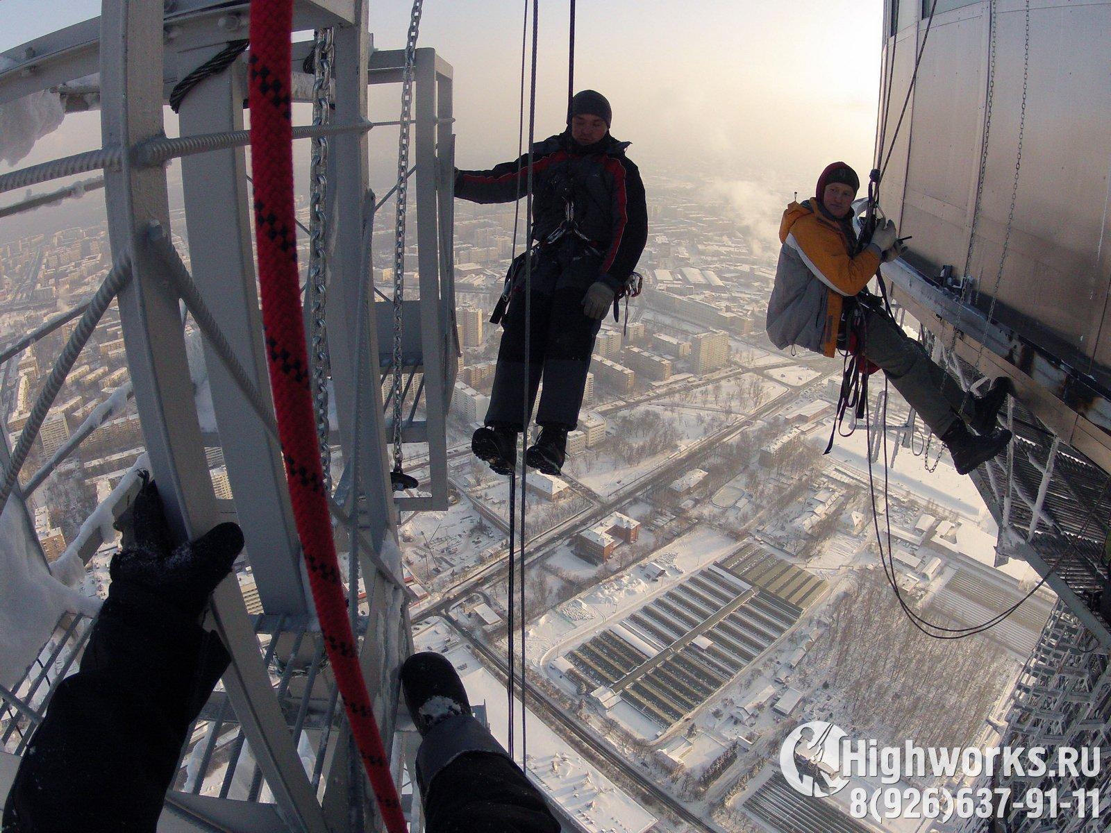 Электромонтажные работы промышленными альпинистами