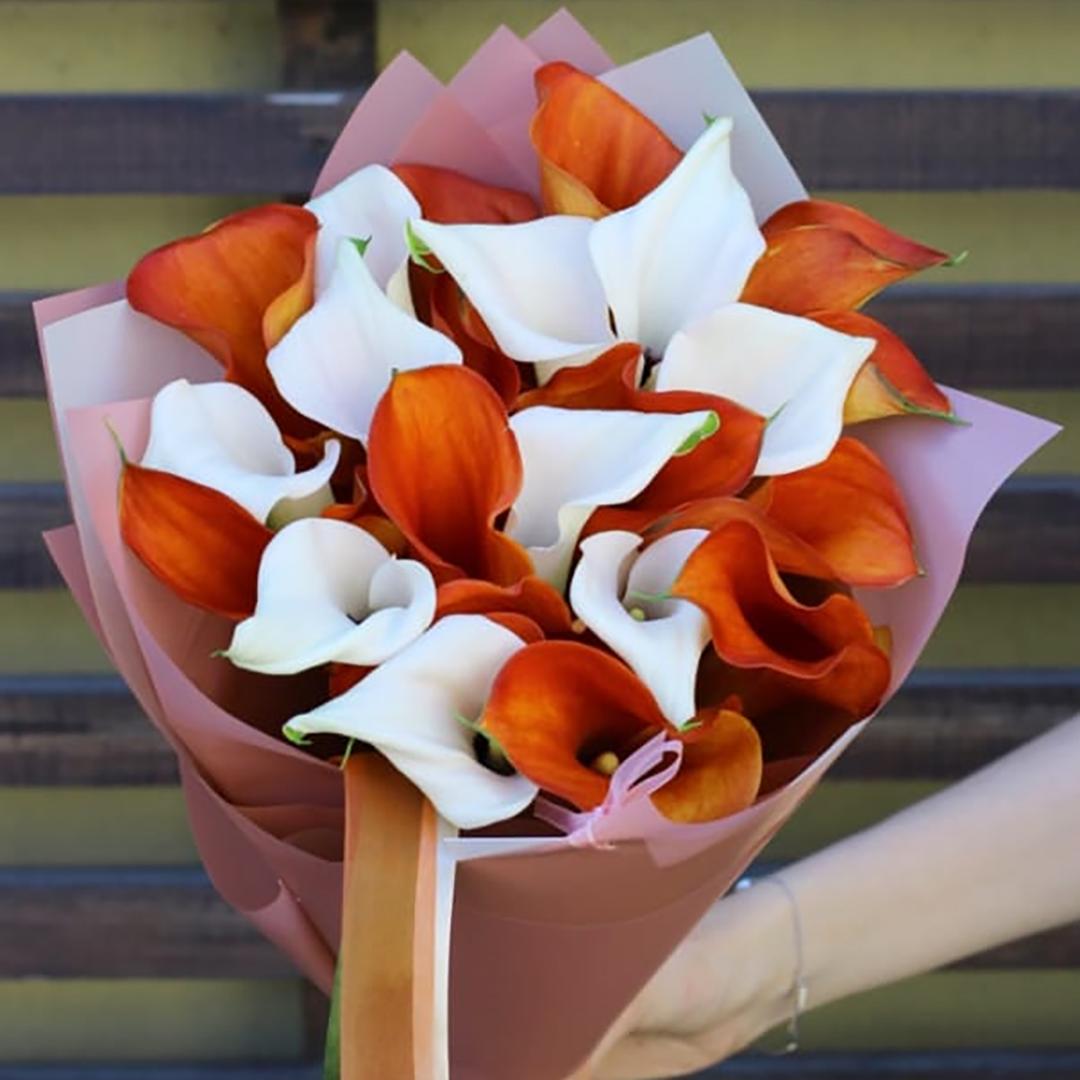 Микс оранжевые и белые каллы в руках