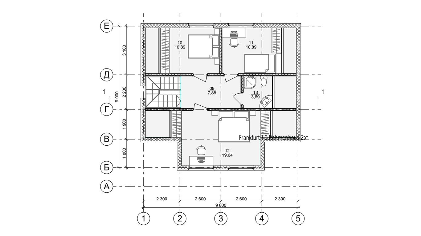 План второго этажа Frankfurt 1.0 Rahmenhaus  (Каркасный дом Франкфурт 1.0)