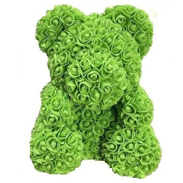Мишка из роз зеленый