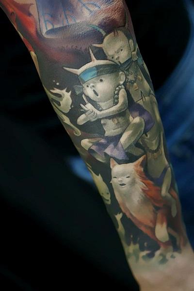 татуировка фотография эскиз мужская на ноге сова
