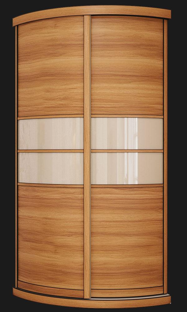 Выгнутый радиусный шкаф M-3 Орех + Белый глянец