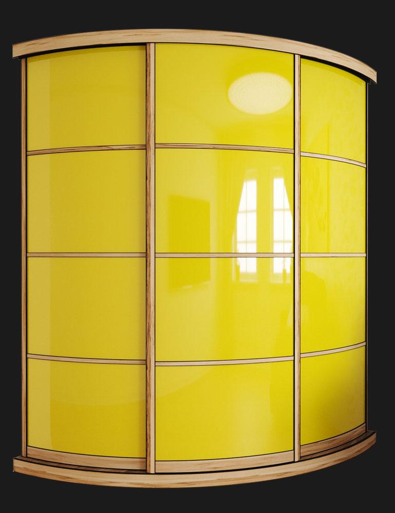 Выгнутый радиусный шкаф M-2 Сандал + Желтый