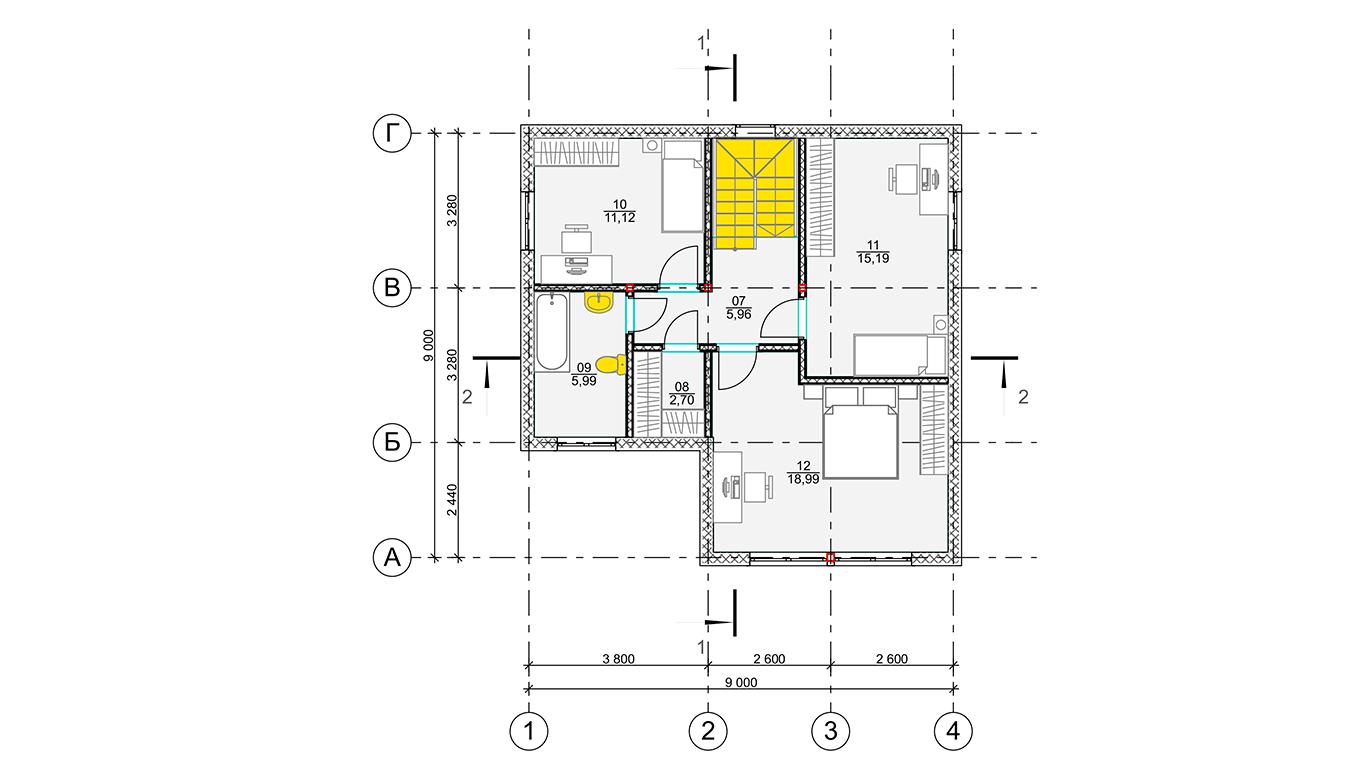 План второго этажа Wolfsburg Rahmenhaus  (Каркасный дом Вольфсбург)