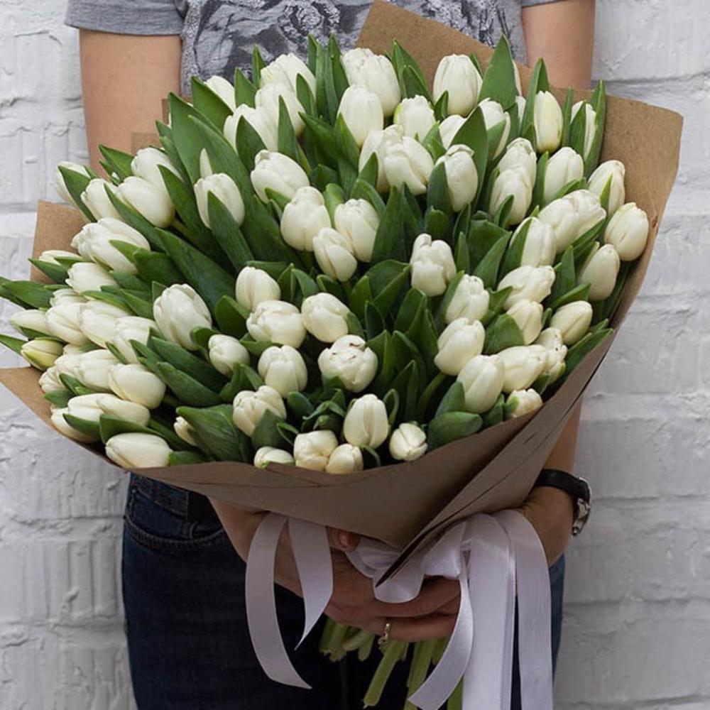 101 белый тюльпан в руках
