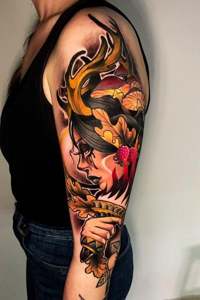 татуировка в стиле ньюскул в новосибирске