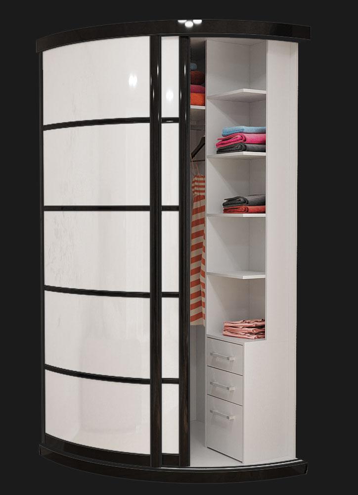 Выгнутый радиусный шкаф M-1 Белый и Черный глянец